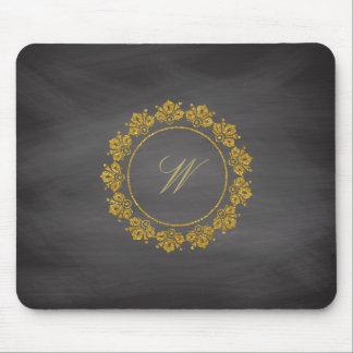 Circular Pattern Monogram on Chalkboard Mouse Pad