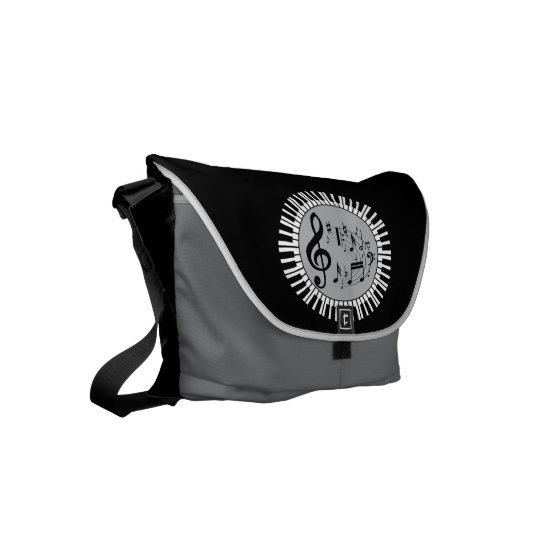 Circular Piano Keys And Music Notes Messenger Bags