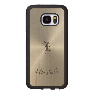 Circular Polished Metal Texture, Personalized Wood Samsung Galaxy S7 Case