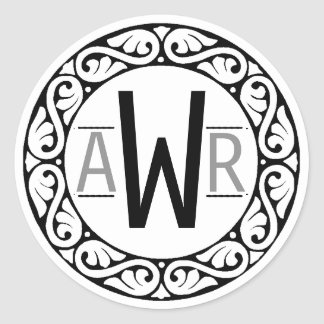 Circular Scrollwork Frame Initials B&W Classic Round Sticker