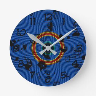Circular Sky Blue Abstract Pattern Round Clock