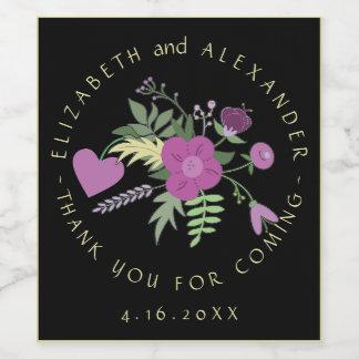 Circular Text Purple Flowers Wedding Wine Label