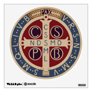 Circular Wall Decal of the Medal of St. Benedict