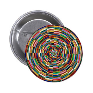 Circular Wave Embossed Colorful Strips Party GIFTS Pinback Buttons