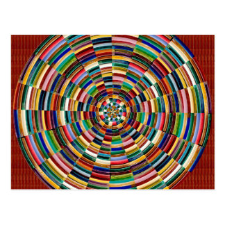 Circular Wave Embossed Colorful Strips Party GIFTS Postcard
