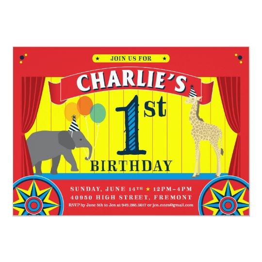 Circus Animal Birthday Invitation