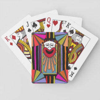Circus Art - Clown Face, Stripes and Big Top Playing Cards