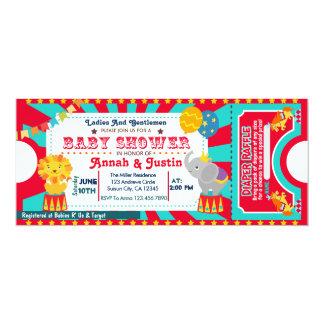 Circus baby shower invitation - diaper raffle