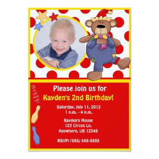Circus Bear Kids Photo Birthday Invitation