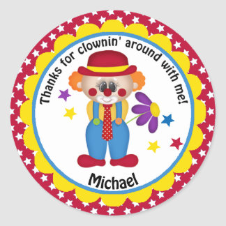 Circus Birthday Clown for Boys Classic Round Sticker