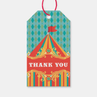 Circus birthday party favor gift tags, thank you gift tags