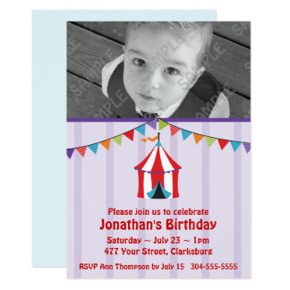 Circus Birthday Party Photo Template Card