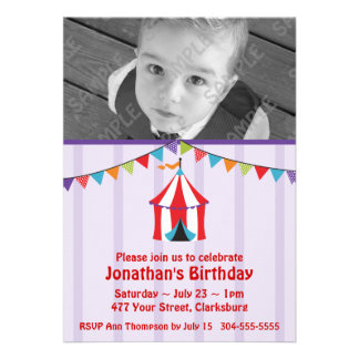 Circus Birthday Party Photo Template Custom Invitations