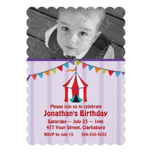 Circus Birthday Party Photo Template Custom Invites
