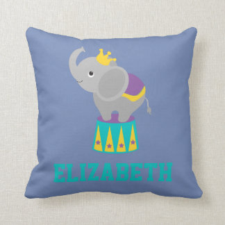 Circus Carnival Animal Elephant Blue Yellow Purple Throw Pillow