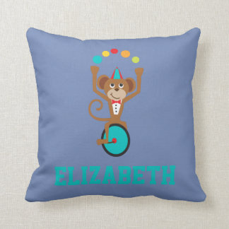 Circus Carnival Animal Juggling Monkey Unicycle Throw Pillow