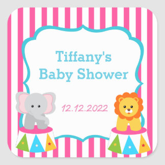 Circus Carnival Baby Shower Favor Stickers