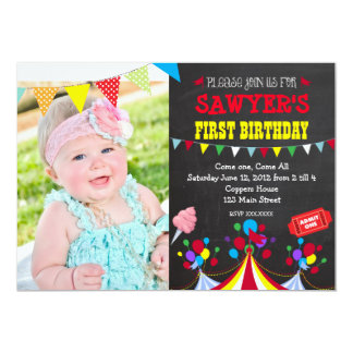 Circus Carnival Birthday Party Invitation