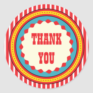 Circus Carnival Birthday Party Thank You Sticker