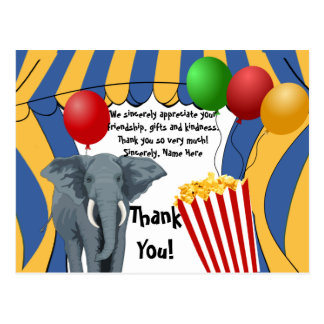Circus Carnival Birthday/Thank You Postcard