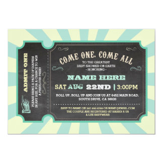 Circus Carnival Mint Lemon Baby Shower Invitation