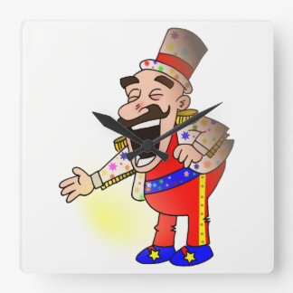 Circus Chef Square Wall Clock