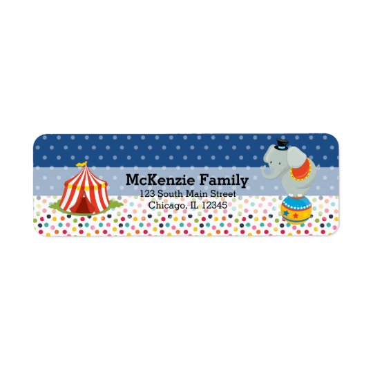Circus * choose background colour return address label