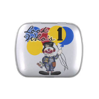 Circus Clown 1st Birthday Candy Tins and Jars
