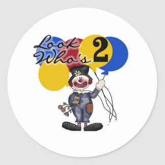 Circus Clown 2nd Birthday Round Sticker