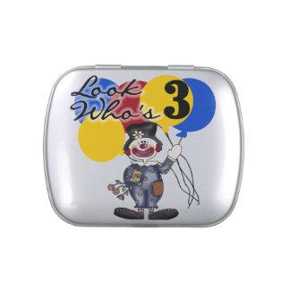 Circus Clown 3rd Birthday Candy Tins and Jars