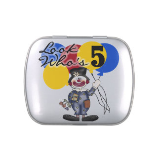 Circus Clown 5th Birthday Candy Tins and Jars