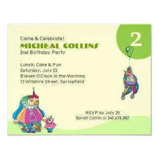 """Circus Clown Birthday Fun Kid's Birthday Party 4.25"""" X 5.5"""" Invitation Card"""
