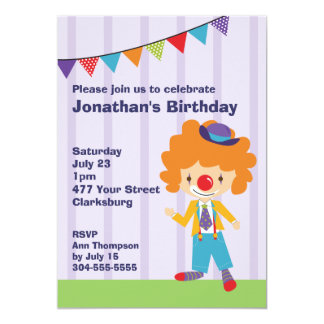 Circus Clown Birthday Party Personalized Invite