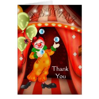 Circus Clown Thank You Cards