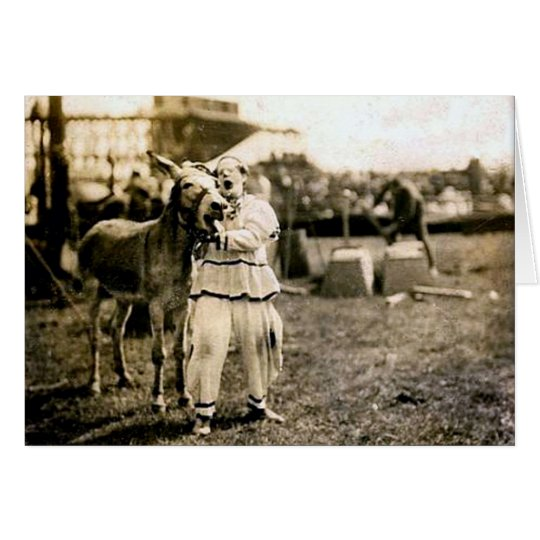 Circus Clown-with-Mule Card