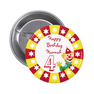 Circus Clown with Stars Button
