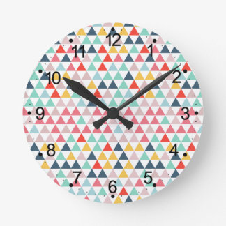 Circus Color Triangles Round Clock