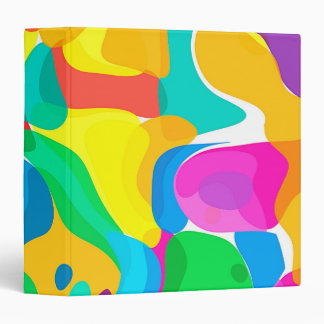 Circus Colors Chaos Abstract Art Pattern 3 Ring Binders