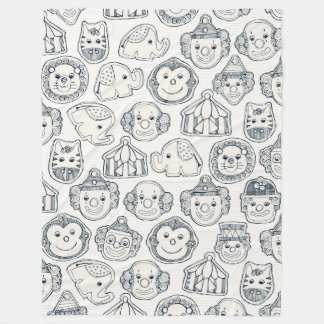 circus cookies indigo ivory fleece blanket