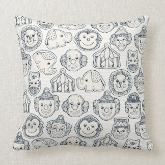 circus cookies indigo ivory throw pillow