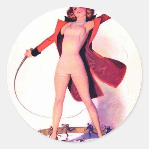 Circus Days Film Fun Vintage Art Round Stickers
