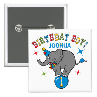 Circus Elephant 1st Birthday 2 Inch Square Button