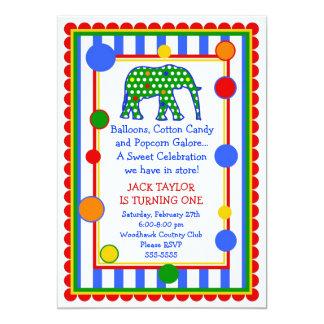 Circus Elephant Birthday Invitation- Primary Card