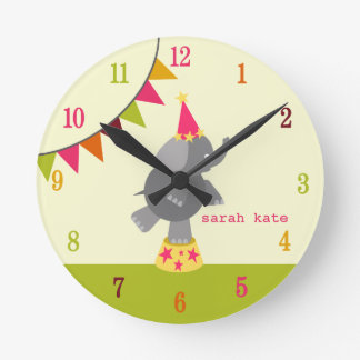 Circus Elephant & Flags Clock