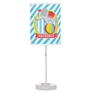 Circus Elephant on Ball; Baby Blue & White Stripes Table Lamp
