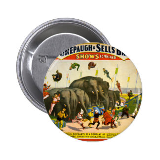 Circus Elephants 2 Inch Round Button