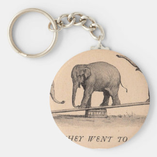 circus elephants basic round button keychain