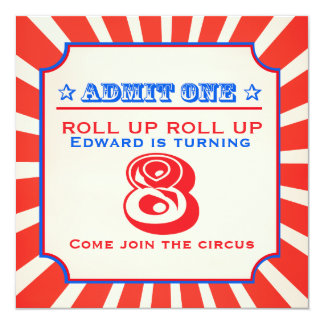 Circus fun fair 8th kids birthday party invitation