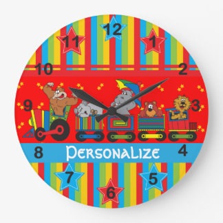 Circus Fun for Everyone Nursery Theme for Baby Large Clock