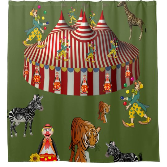 Circus green red white children's shower curtain
